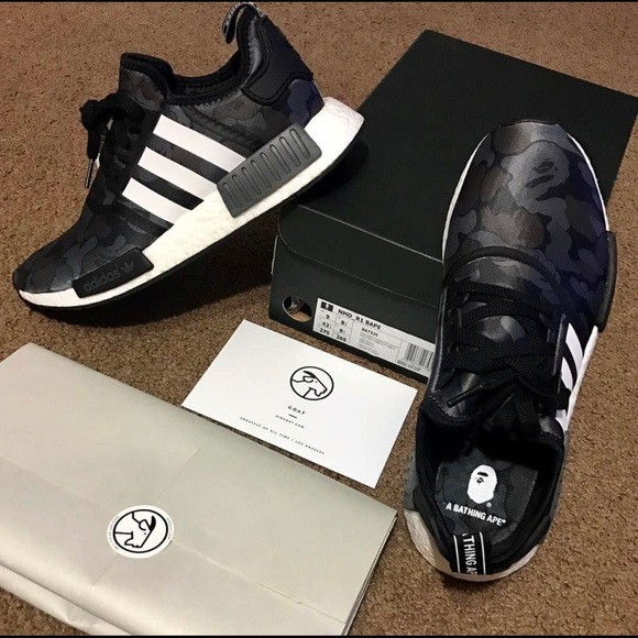 adidas Shoes   Bape Nmd Black Camo Size
